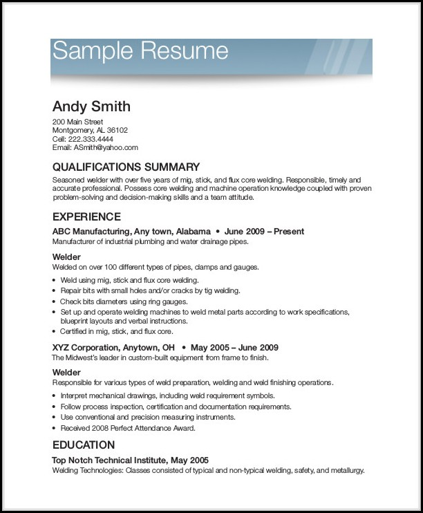 Free Printable Resume Forms