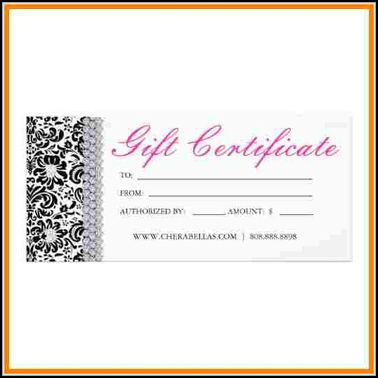 Free Printable Salon Gift Certificate Templates