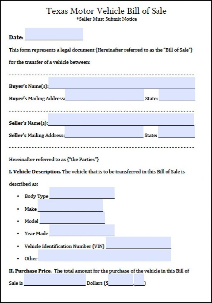 Free Printable Texas Bill Of Sale Form
