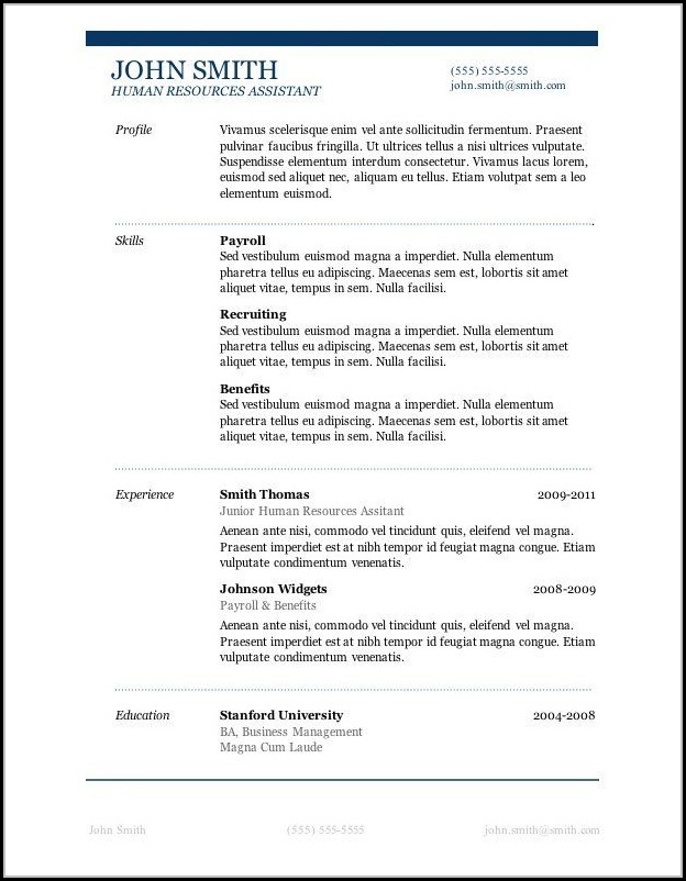 Free Resume Layouts Microsoft Word