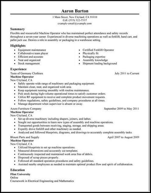 Free Resume Templates For Machine Operator