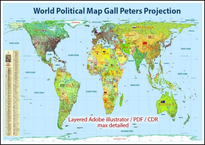 Gall Peters Projection World Map