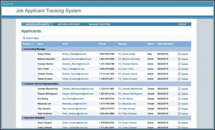 Job Applicant Tracking Template