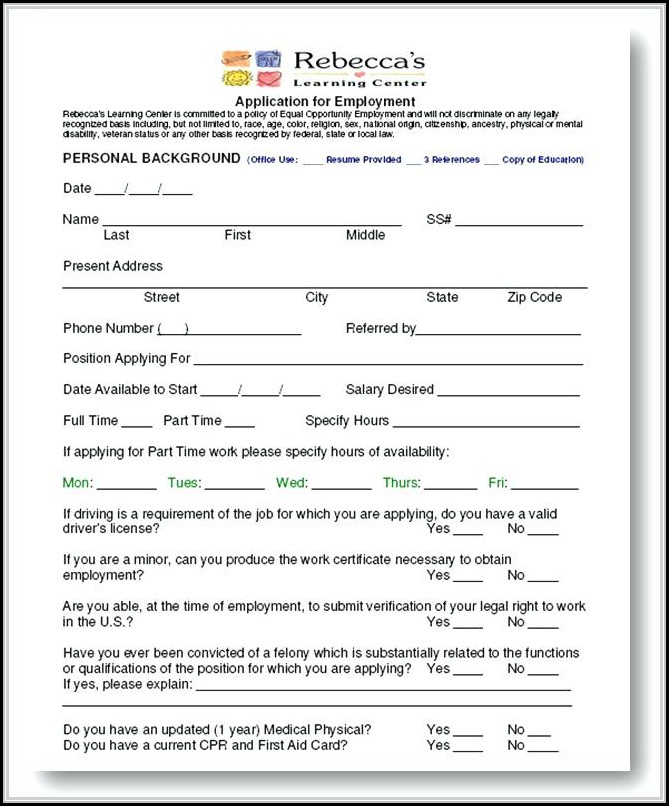 Job Application For Daycare