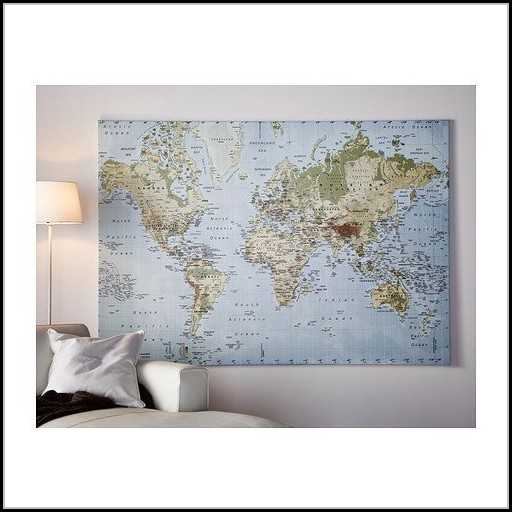 Large World Map Canvas Ikea