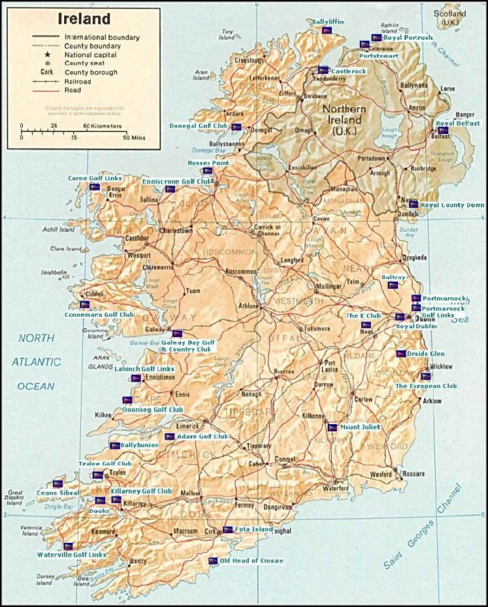 Map Of Ireland Golf Courses