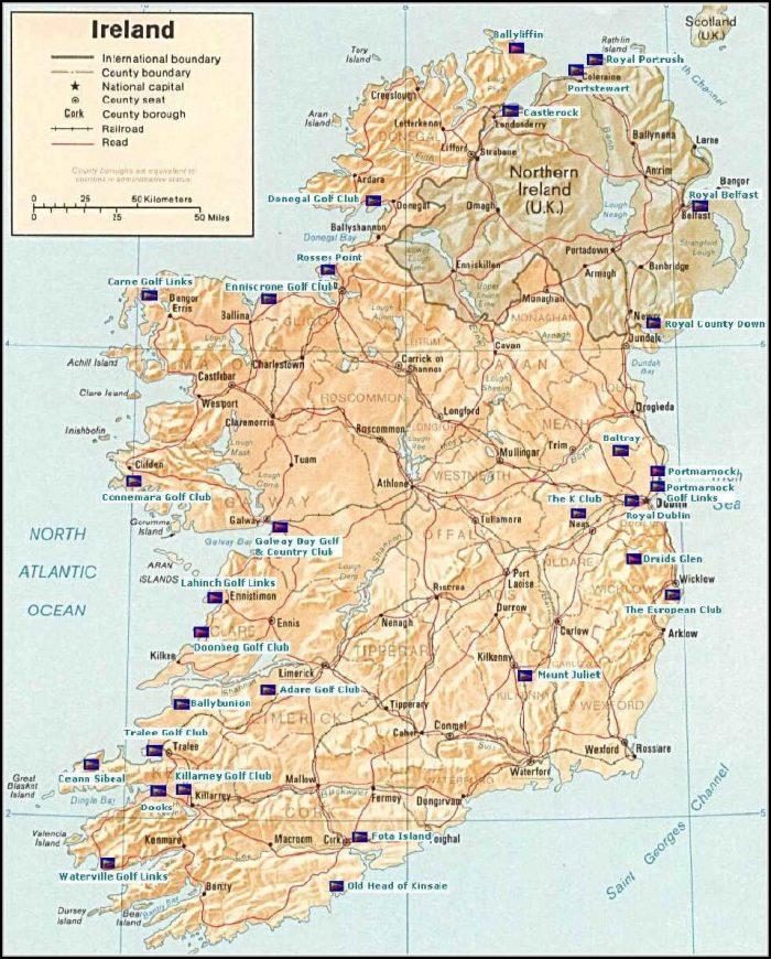 Map Of Ireland Golf Courses