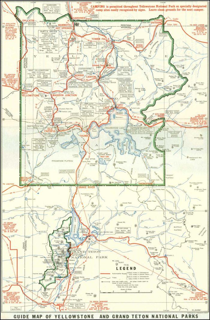 Map Of Yellowstone And Grand Tetons