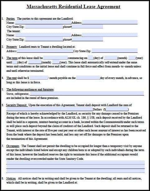 Massachusetts Lease Agreement Template