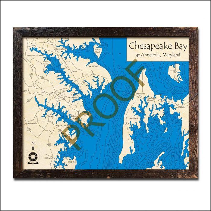 Nautical Wood Maps Annapolis