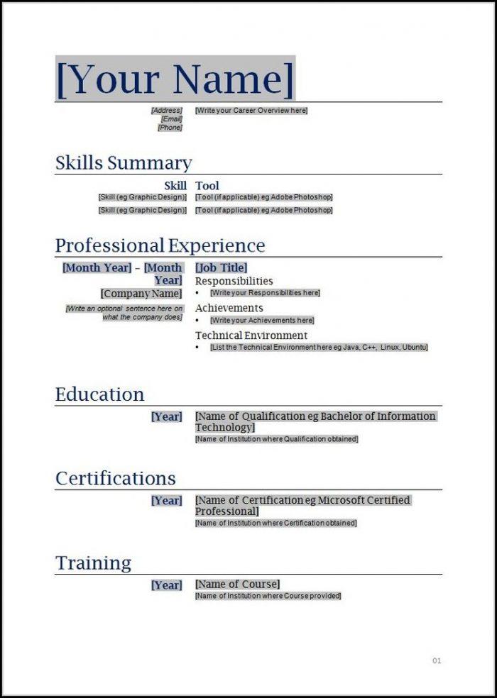 Printable Resume Templates Word