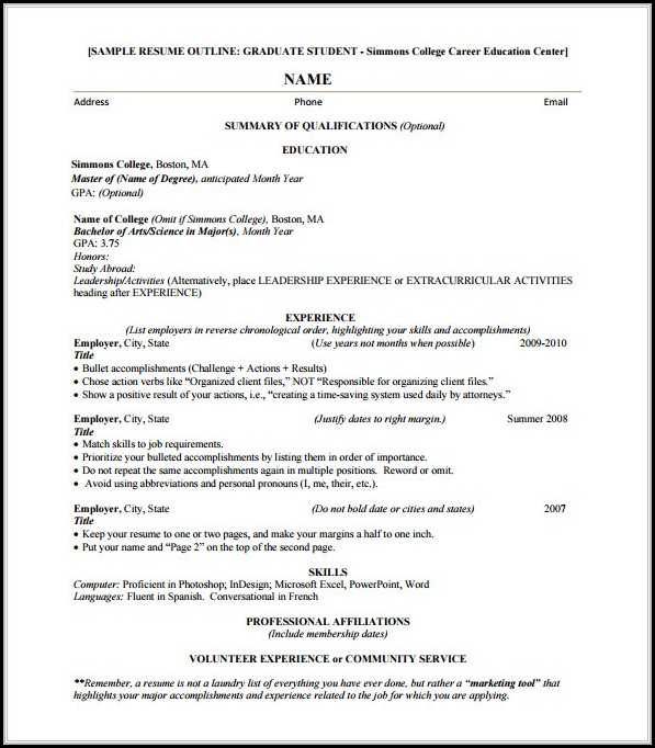 Resume Outline Free Download