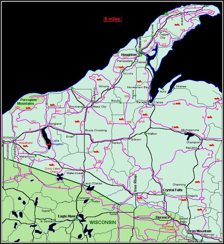 Snowmobile Trail Maps Upper Peninsula Michigan Map Resume