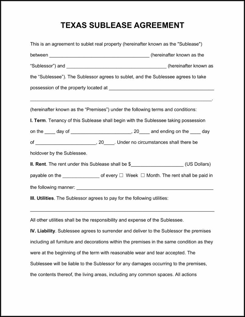 Sublease Agreement Form