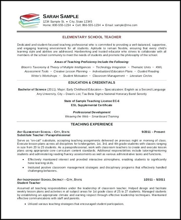 Teacher Resume Template Word Free