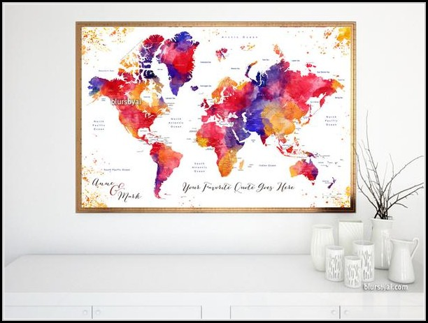 Watercolor World Map With Countries