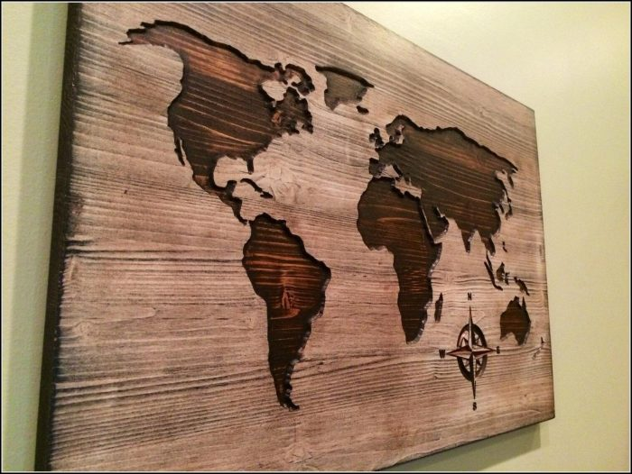 Wooden World Map Art