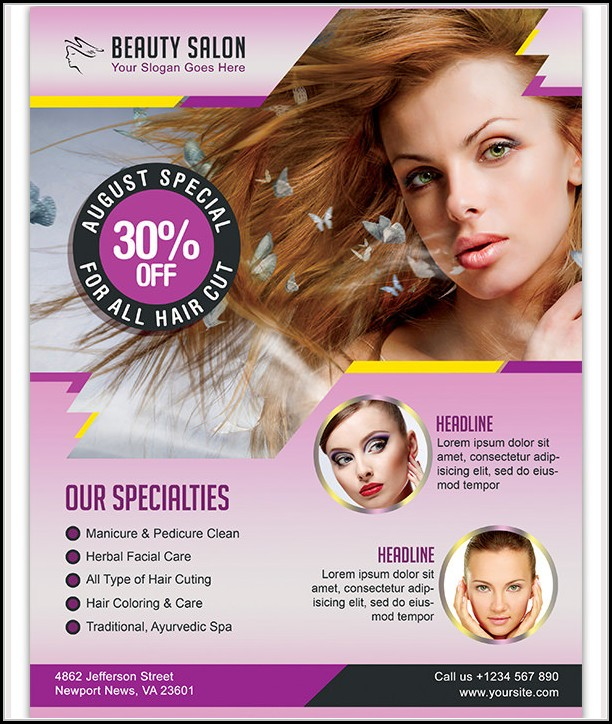 Beauty Parlour Brochure Templates Free Download
