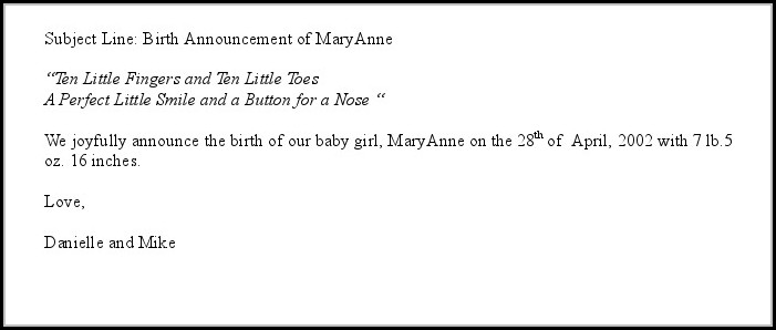 Birth Announcement Email Template Free Template 1 Resume