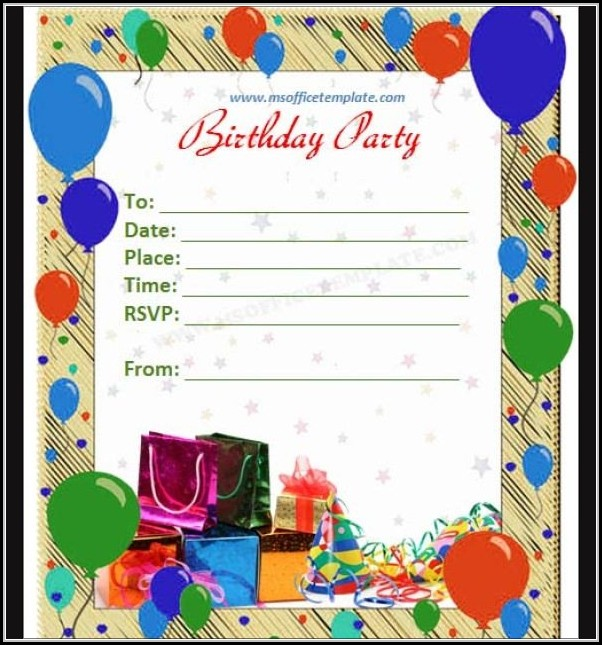 Birthday Invitation Cards Templates Word