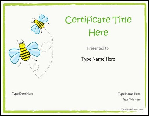 Blank Certificate Template For Kids