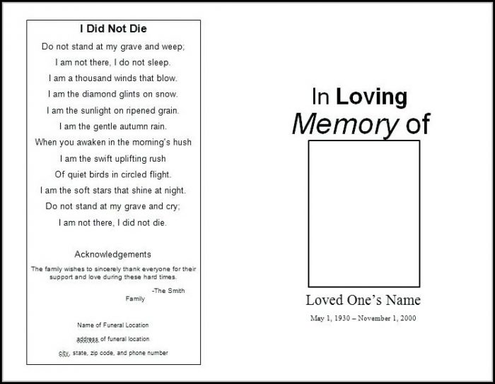 Blank Funeral Program Template Word