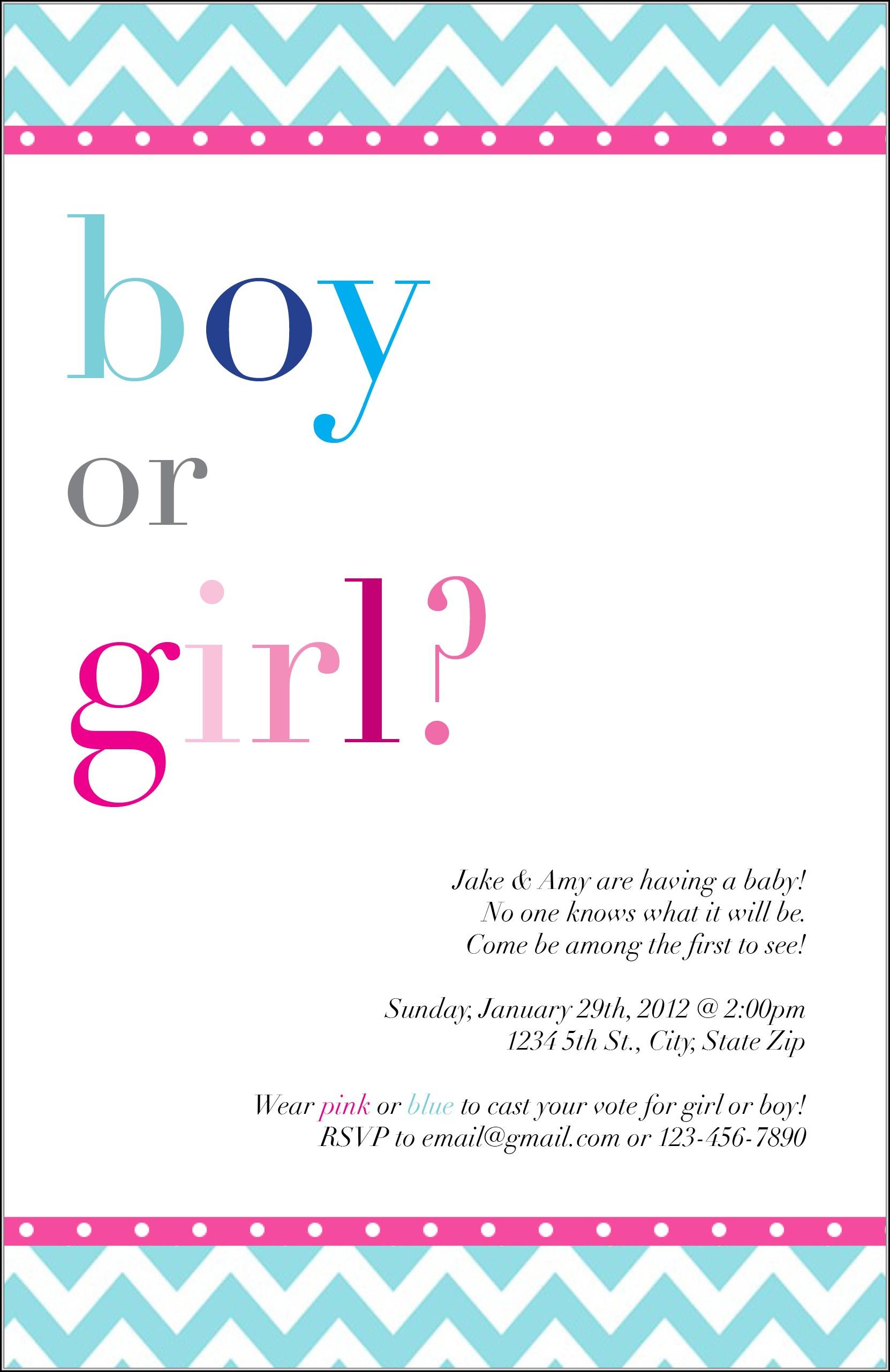 Blank Gender Reveal Invitation Template