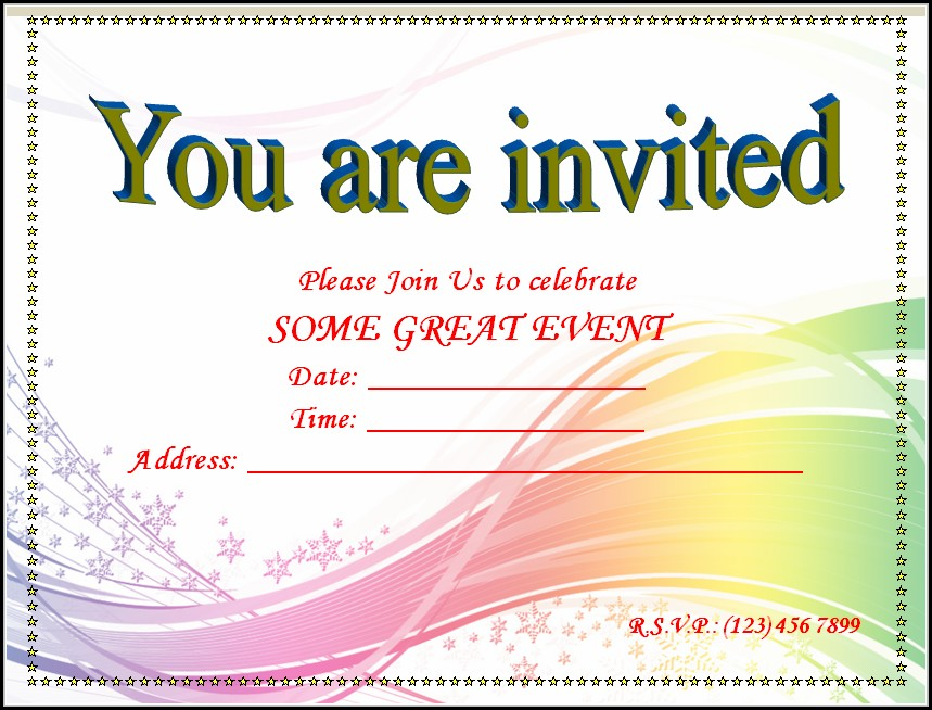 Blank Invitation Templates Free Word