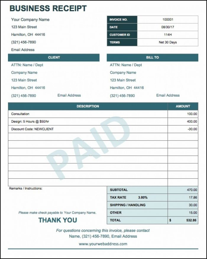Business Payment Receipt Template