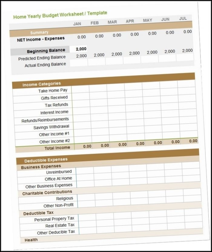 Business Yearly Budget Template Excel