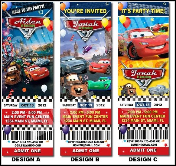 Cars Ticket Invitation Template Free