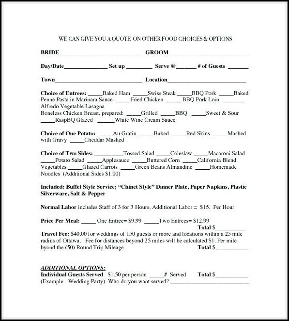 Catering Service Contract Template
