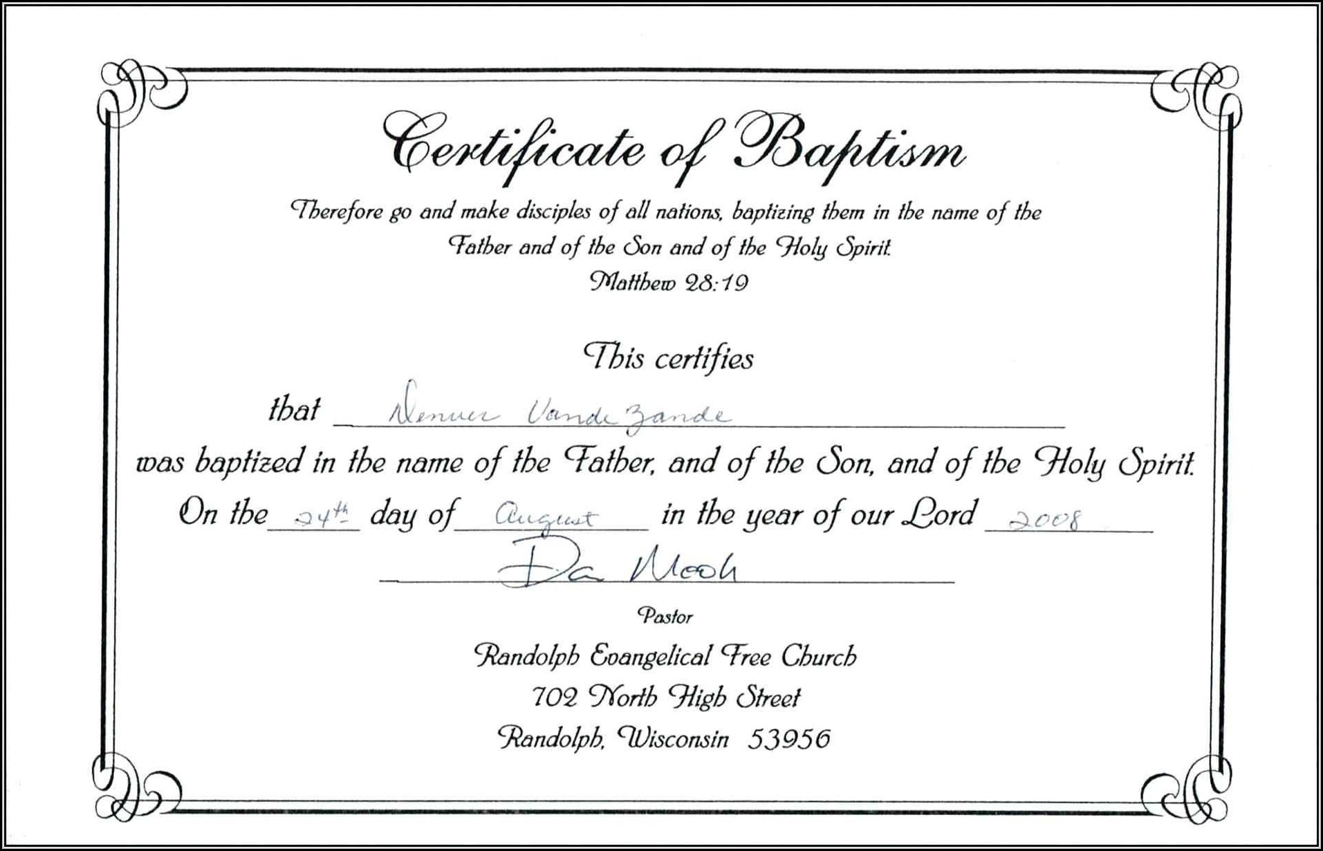 Catholic Baptism Certificate Template