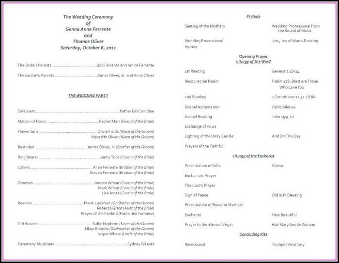 Catholic Church Wedding Program Template