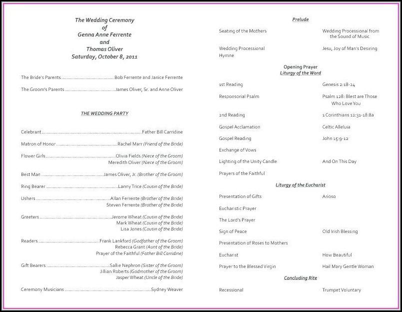 catholic church wedding program template template 1 resume