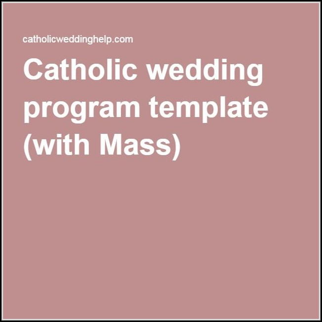 Catholic Wedding Program Template With Mass