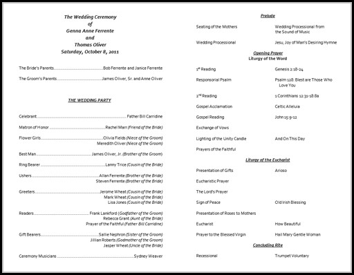 Catholic Wedding Program Template Word