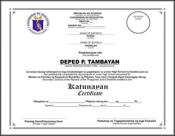 Certificate Of Recognition Template Deped