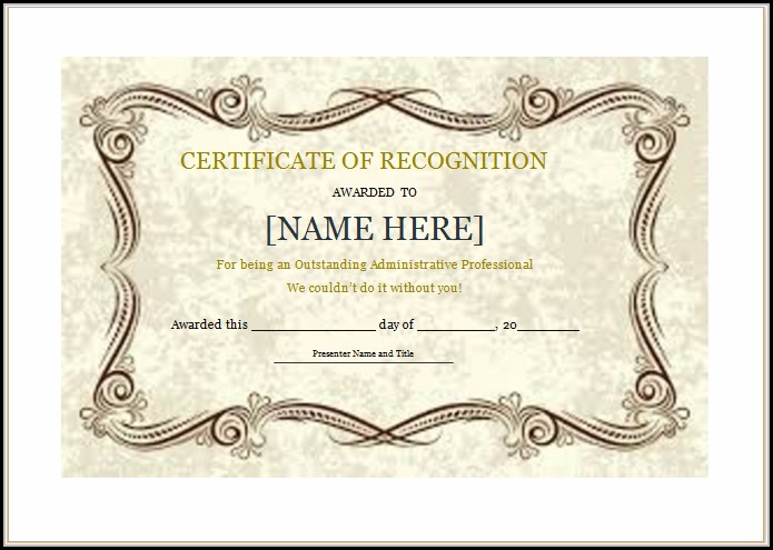 Certificate Of Recognition Template Doc