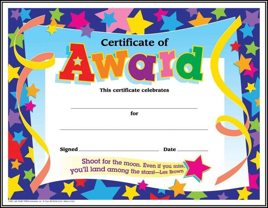 Certificate Of Recognition Template For Kindergarten