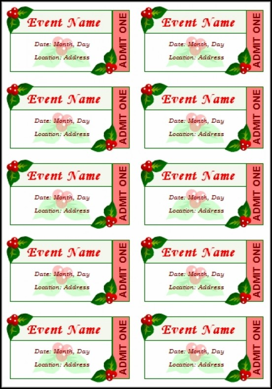 Christmas Event Ticket Template Free