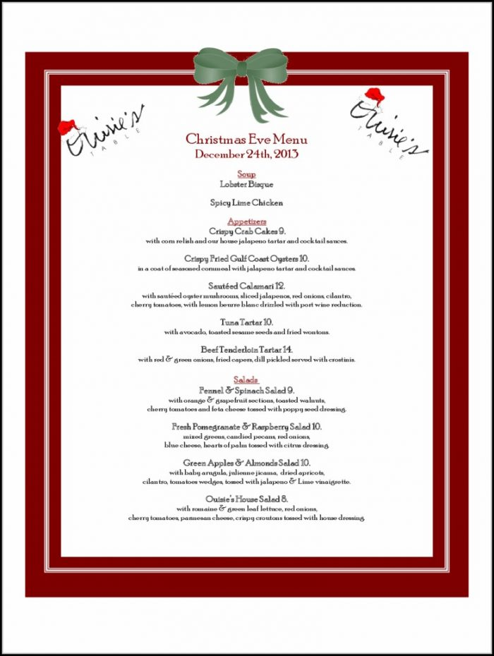 Christmas Menu Templates Free Download