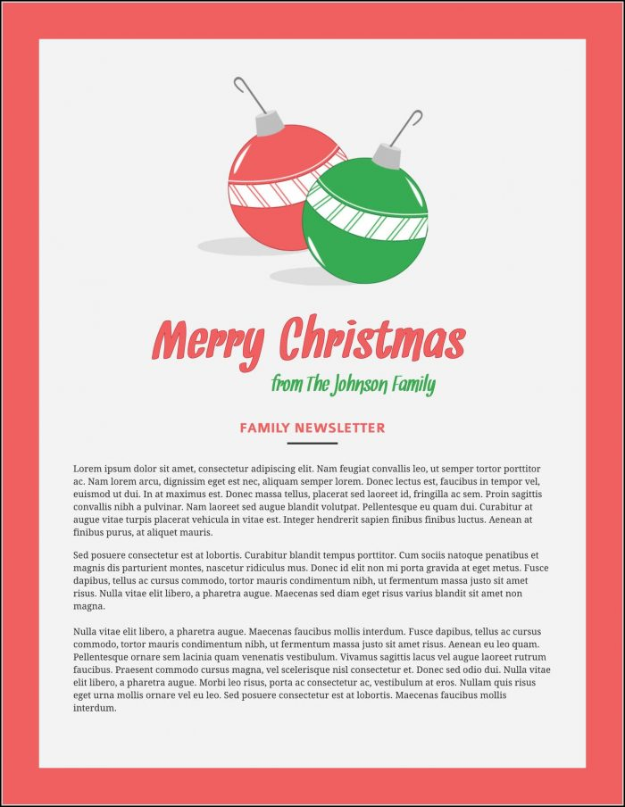 Christmas Newsletter Template