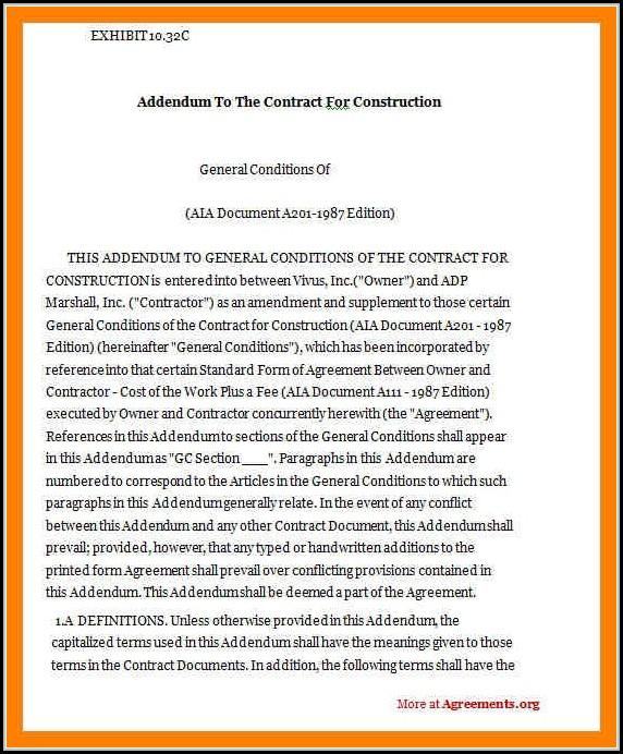Construction Contract Addendum Template Template 1 Resume
