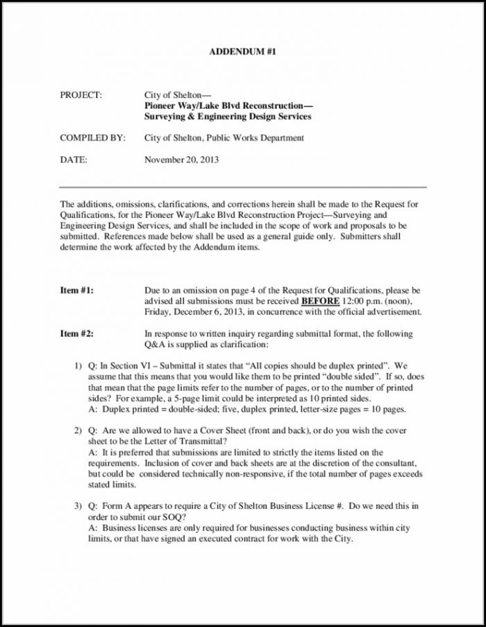 Contract Addendum Template Free