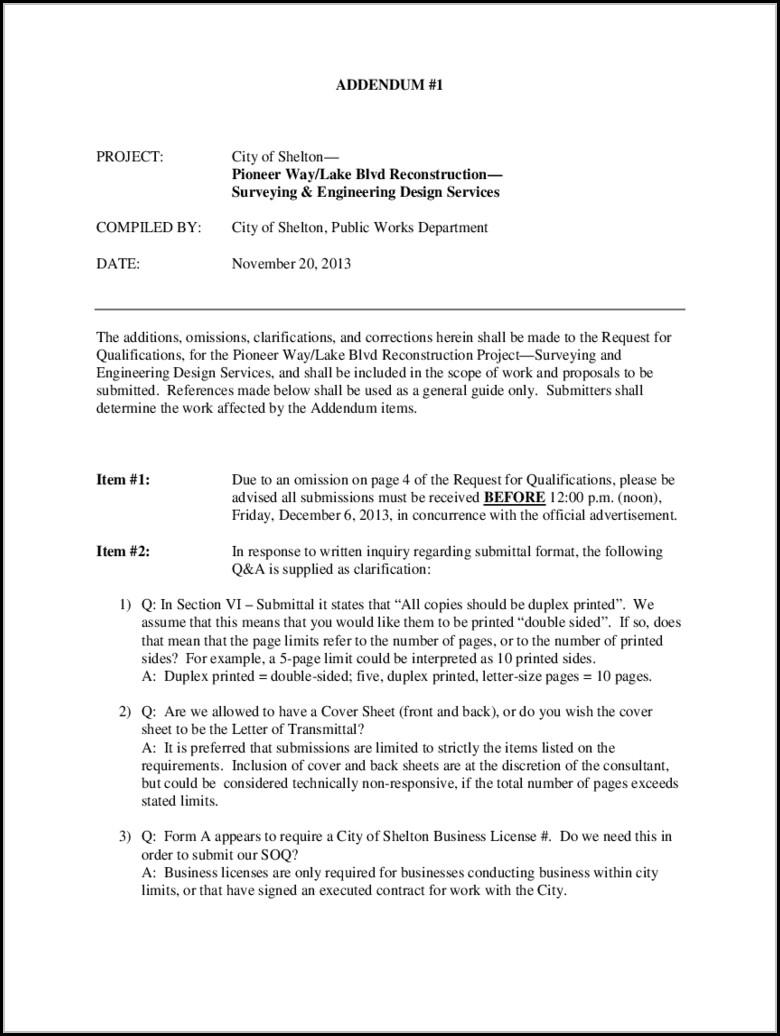 Contract Addendum Template
