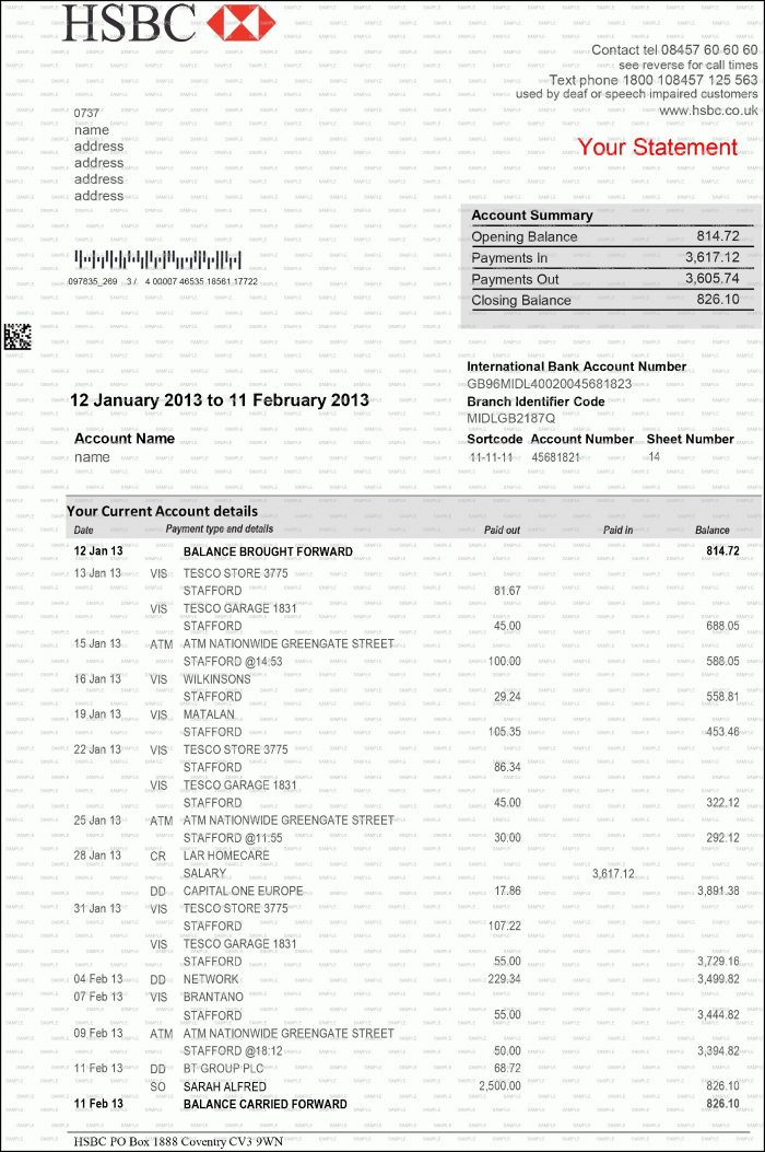 Create Fake Bank Statement Template Free