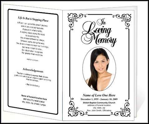 Cremation Memorial Service Program Template