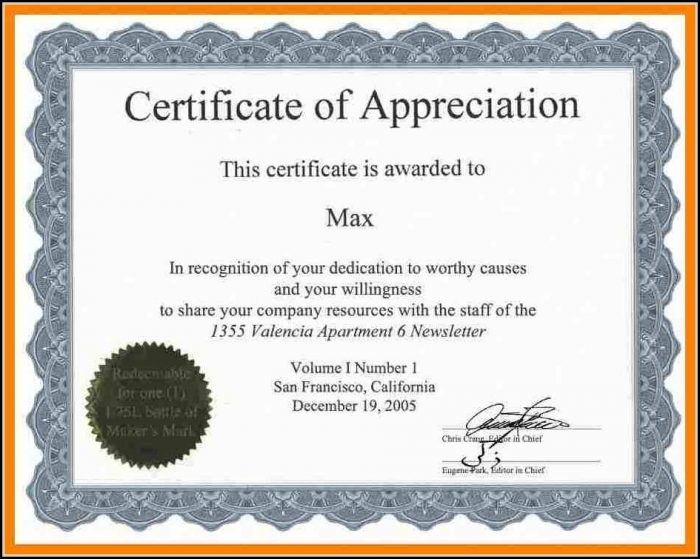 Downloadable Certificate Of Appreciation Templates