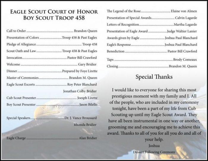 Eagle Scout Ceremony Program Template